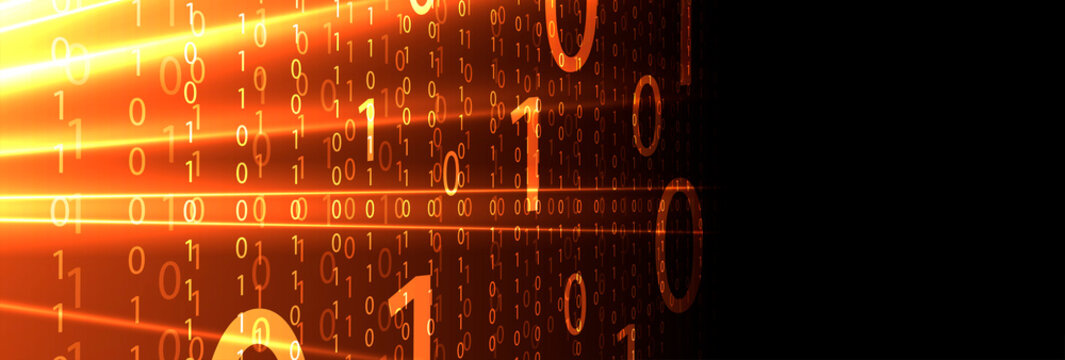 Bytes of binary code run through network. Abstract futuristic technology syberspace
