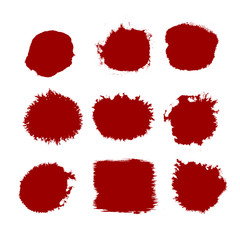 Red Brush strokes. Vector paintbrush set. Round grunge design elements. Long text boxes. Dirty distress texture banners. Ink splatters. Grungy painted objects.
