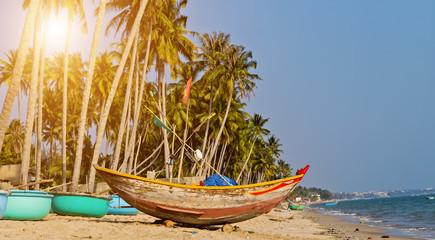 Woven Vietnamese fishing basket boats