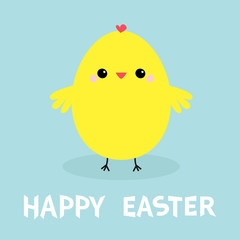 Chicken bird. Happy Easter. Egg shape. Cute cartoon funny kawaii baby character. Flat design. Greeting card. Blue pastel color background.