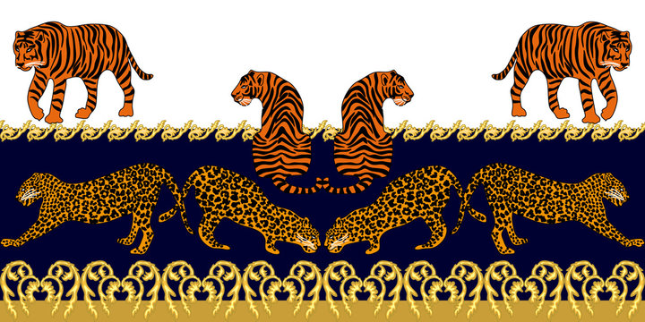 Baroque border with leopards and jewelry elements.