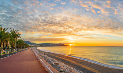 Wall Mural - Landscape with colorful sunrise panorama over the bay of Angels, Nice, French Riviera coast