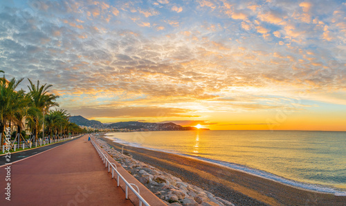 Wall mural Landscape with colorful sunrise panorama over the bay of Angels, Nice, French Riviera coast
