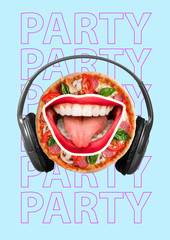 Funny art collage. Pizza eyes with red lips. Contemporary modern image. Emotions hungry person,...