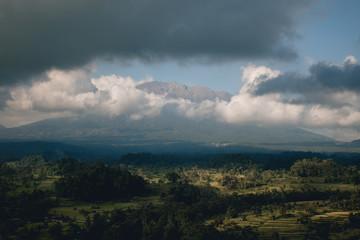 Mount Agung between clouds