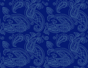 vector seamless graphical orient paisley pattern. Ethnic allover background design.