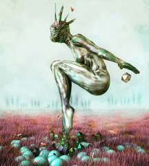 Human figure dancing in surreal landscape