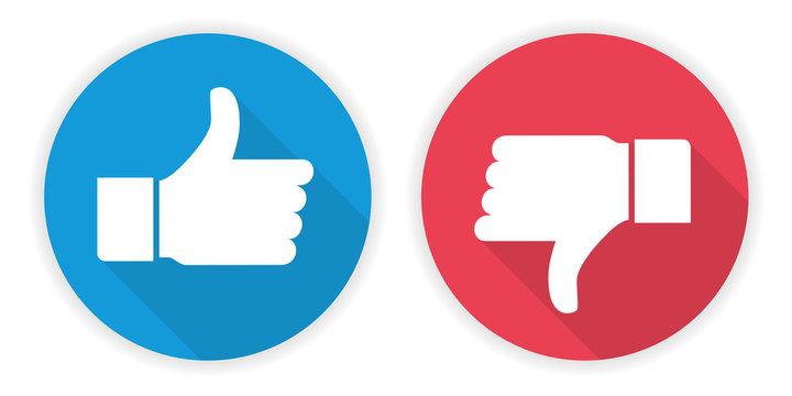 Icon thumb up and thumb down. Like and dislike sign design - Vector.