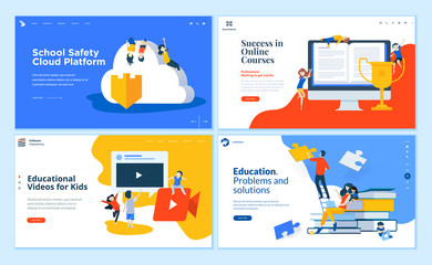 Set of flat design web page templates of education, online training and courses, educated app and cloud. Modern vector illustration concepts for website and mobile website development.
