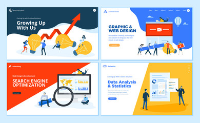 Set of flat design web page templates of creative solution, graphic and web design, SEO, data analysis. Modern vector illustration concepts for website and mobile website development.