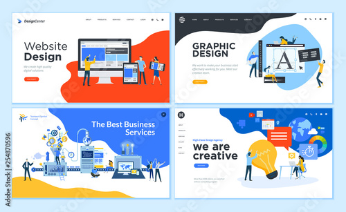 Wall mural Set of flat design web page templates of graphic design, website design and development, social media, business service. Modern vector illustration concepts for website and mobile website development