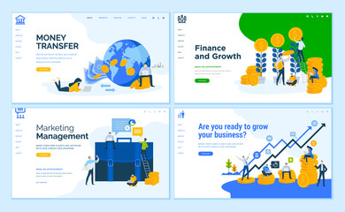 Set of flat design web page templates of business, finance, online money transfer, consulting. Modern vector illustration concepts for website and mobile website development.