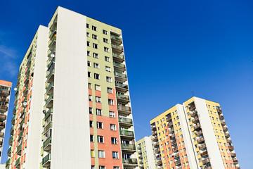 Block of flats in Warsaw, post-communist architecture.