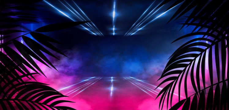 ackground of the dark room, tunnel, corridor, neon light, lamps, tropical leaves. Abstract background with new light.