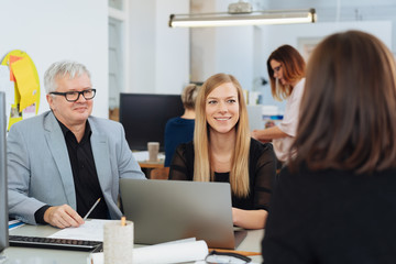 Smiling young businesswoman in a meeting