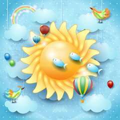 Surreal sky with big sun, bird, balloons and flying fish