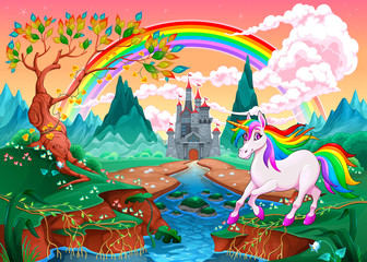 Poster Kinderkamer Unicorn in a fantasy landscape with rainbow and castle