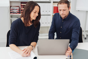 Business partners working together on a laptop