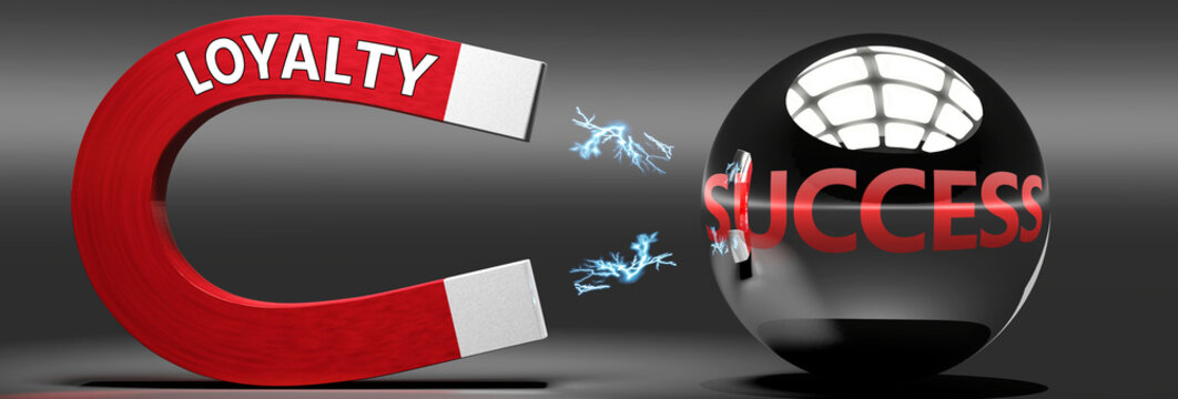 Loyalty leads to success, attracts achievements and progress -  this abstract idea and relation pictured as two objects, magnet attracting a ball, labelled with English words, 3d illustration