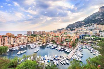 Luxury residential area Monaco-Ville with yachts, Monaco, Cote d'Azur, France