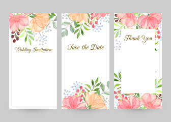 Wedding invitation templates set with watercolor flowers, thank you card, save the date cards, baby shower, menu, flyer, banner template.Watercolor gentle background for invitations or greeting cards.