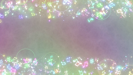 Fototapete - キラキラパーティクルエフェクト 音符