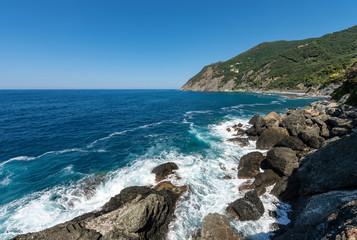 Foto auf Gartenposter Ligurien Mediterranean Sea and cliff - Framura Liguria Italy