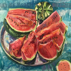 Drawing of bright watermelon cut slice