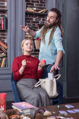 Good looking bearded man stealing the purse