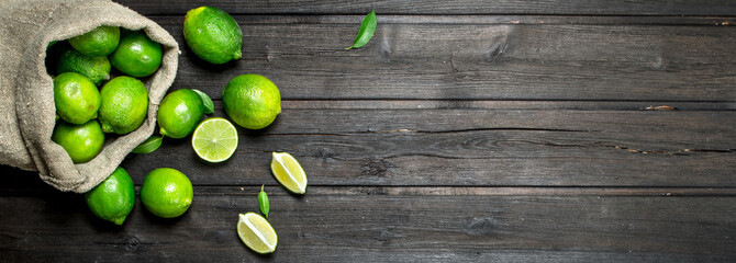 Fresh juicy lime in the sack.