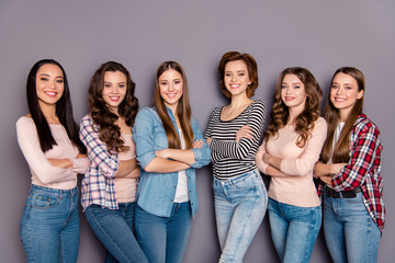 Close up side profile photo beautiful she her six ladies skinny roommates diligent students example to follow wearing casual jeans denim checkered striped clothes outfit isolated grey background