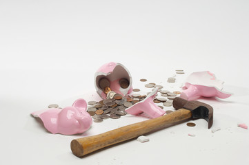 Broken pig bank