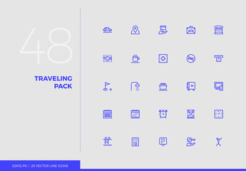 Vector Line Icons Traveling Pack