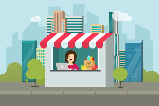 Store retail facade vector illustration, flat cartoon design of shop building on city street, storefront with seller person or saleswoman near town road image