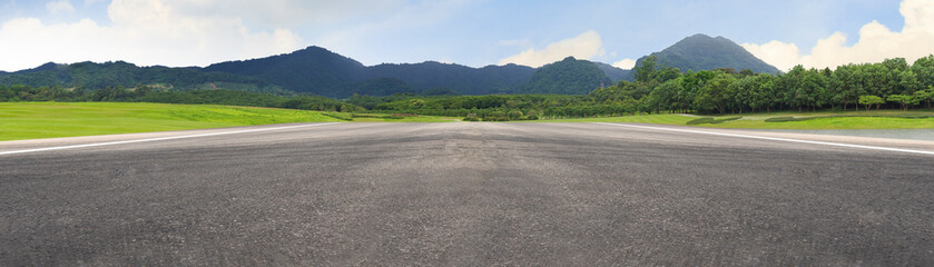 Empty asphalt road and mountain nature landscape