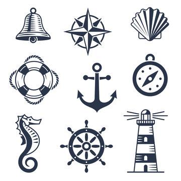 Set of marine nautical icons