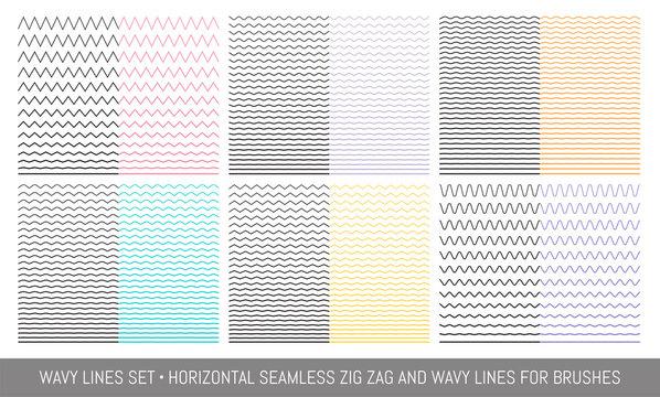 Set of wavy, zigzag, lines