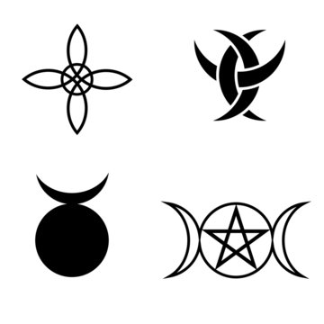 Wicca and pagan symbols. Illustration of a pentagram, Witch's Knot (Witch's Charm), the Triple Goddess, triple crescent and Horned God symbols.