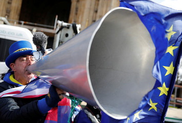 Anti-Brexit campaigner Steve Bray demonstrates outside the Houses of Parliament in London
