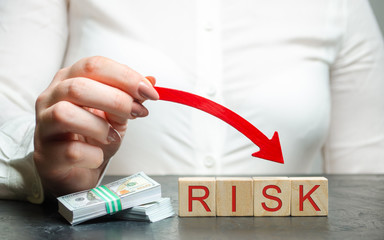 Reduced financial risk for investment and capital. Protection of investment funds and assets. Deposit Insurance. Debt restructuring and risk avoidance. Business and money concept. Management
