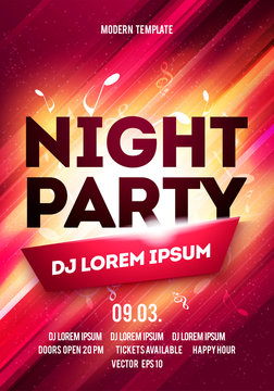 Disco night party vector poster template with shining glow spotlights background
