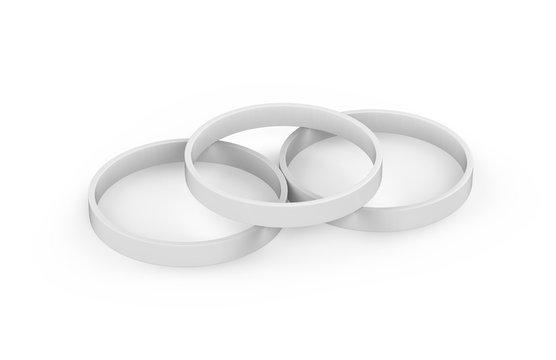 White silicone rubber wristband, Blank promo bracelet mock up template on isolated white background, 3d illustration
