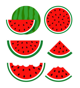 Flat icon slice of watermelon. Vector illustration icon