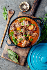 Wall Murals Ready meals Beef ribs Bourguignon. Beef ribs stewed with carrot, onion in red wine. France dish. Top view