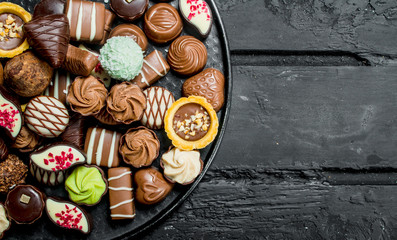 Chocolates on the tray.