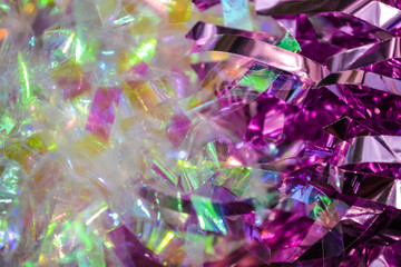Confetti. Festive ornament, a decor from new years rain. Birthday. Bright nacreous, white and pink colors. Holidays.