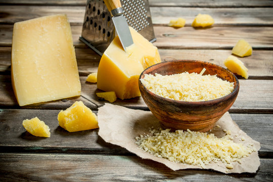 Grated Parmesan cheese in bowl.