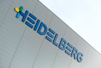 A logo of Heidelberger Druckmaschinen AG is pictured at a store house in Wiesloch near Heidelberg