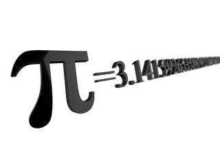 Pi=3.14 - pi symbol numeric value 3D render with focus depth of field