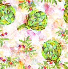 A seamless watercolor pattern of vibrant olive tree branches with olives and artichokes, a Mediterranean cuisine repeat print on an abstract background